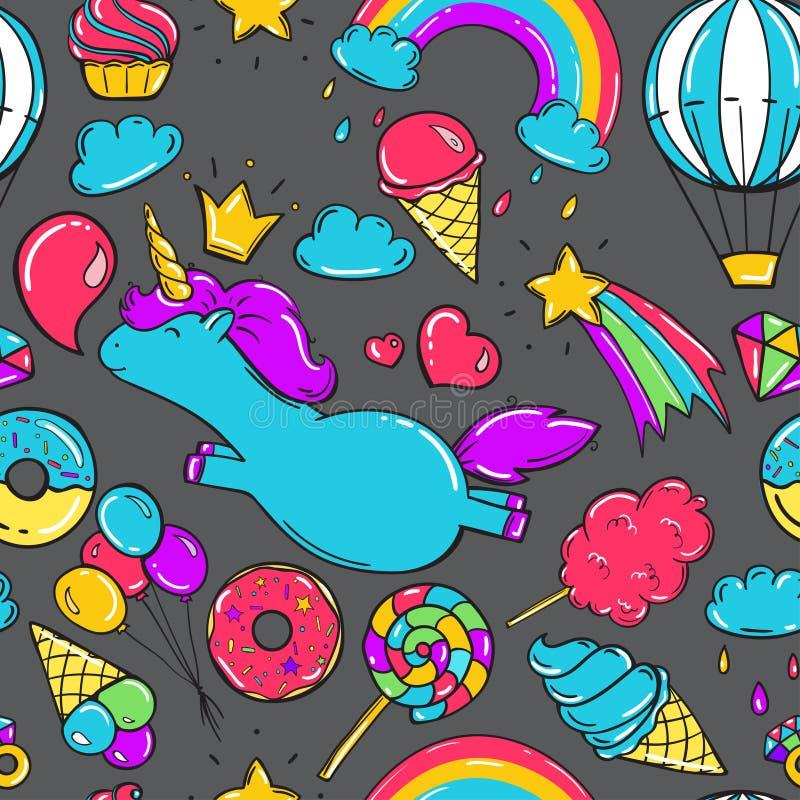 Modelo inconsútil con unicornios, los anillos de espuma arco iris, el helado y otros elementos Fondo gris ilustración del vector