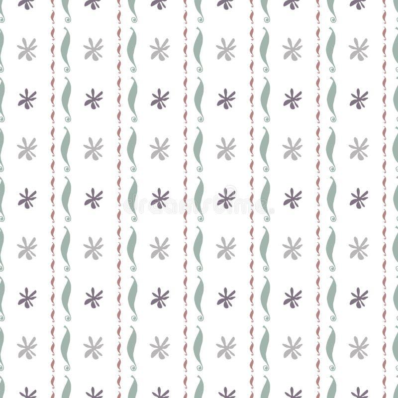 Modelo inconsútil con vainilla, flores y vainas Ejemplo botánico del vector en el estilo lindo para la materia textil, contexto p ilustración del vector