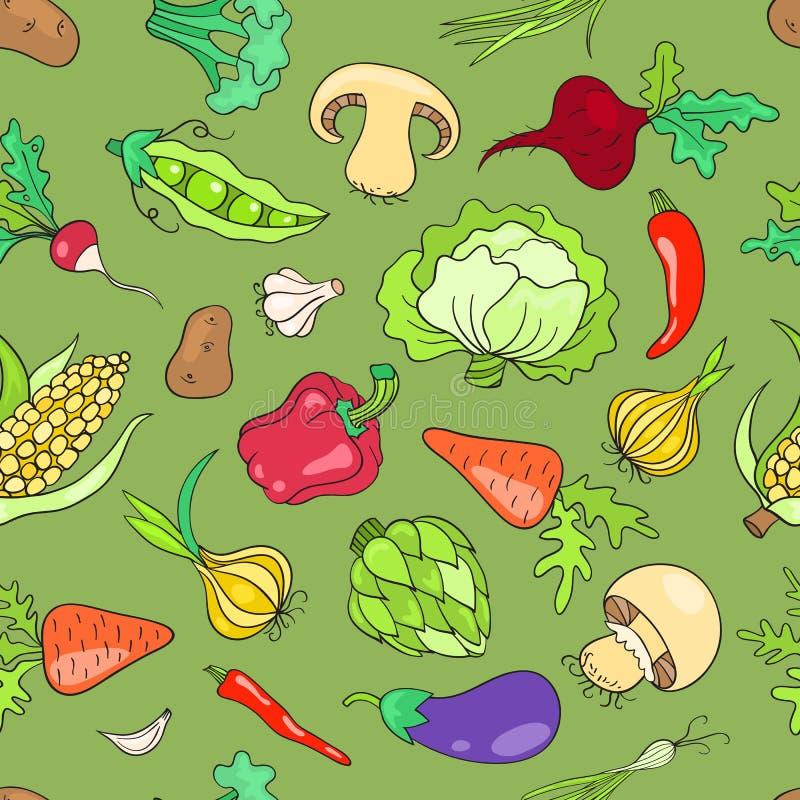 Modelo inconsútil con verde de las verduras ilustración del vector