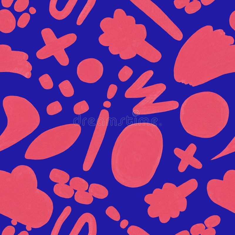 Modelo inconsútil coralino con garabato exhausto de la mano en un fondo azul libre illustration