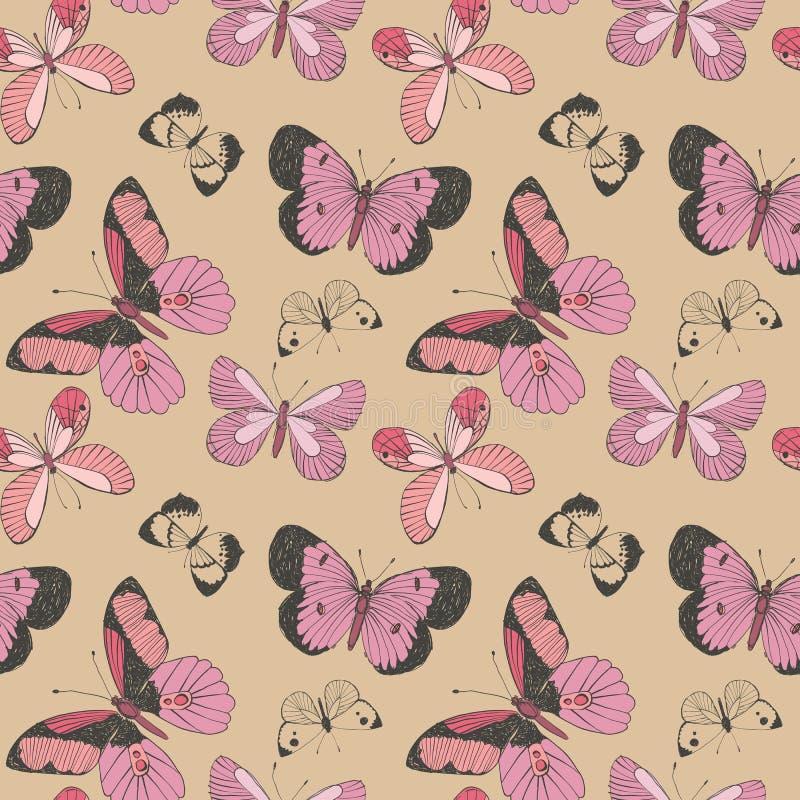 Modelo inconsútil coralino del vector, rosado y magenta colorido de las mariposas que vuela en fondo beige ilustración del vector