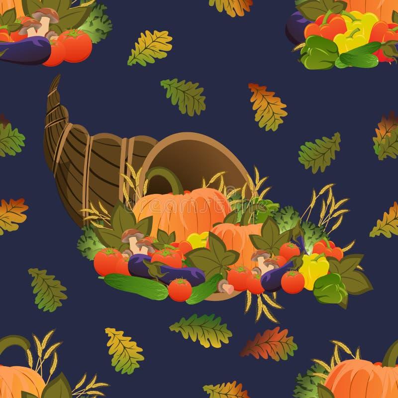 Modelo inconsútil Cornucopia Festival de la cosecha Vehículos maduros Calabaza, pepinos, tomates, berenjenas, paprikas y mushroo libre illustration