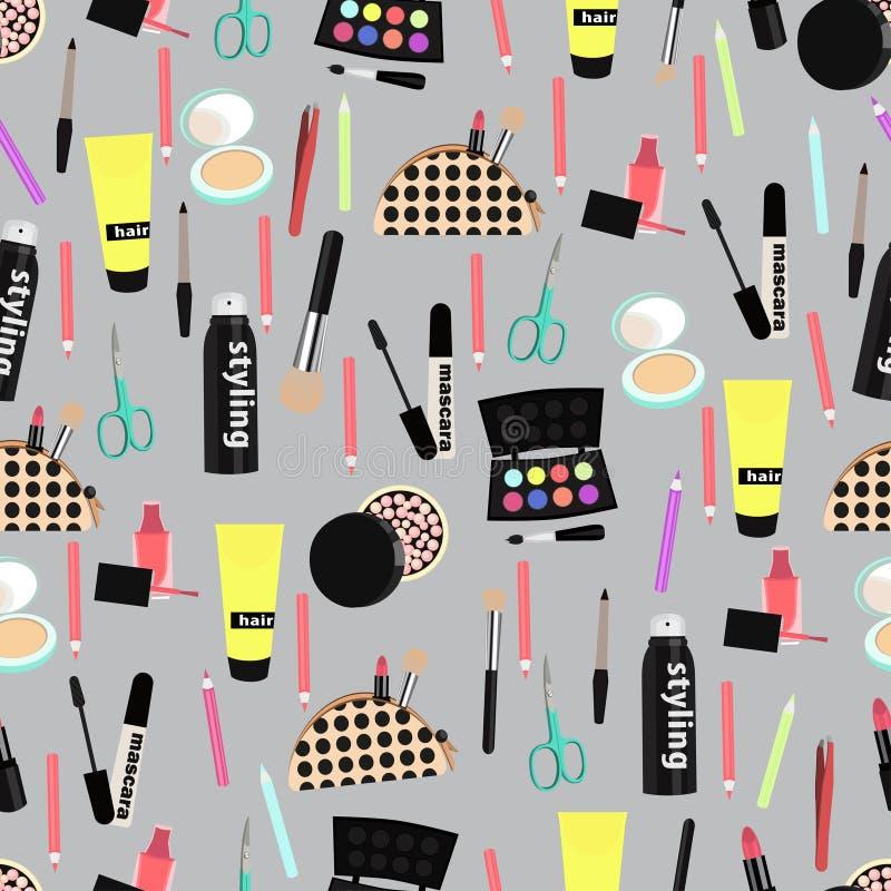 Modelo inconsútil cosmético, fondo de los accesorios del maquillaje Productos coloridos diversos en gris Decoración elegante y de libre illustration
