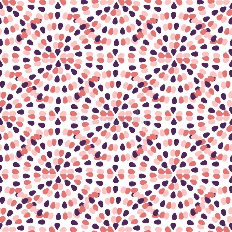 Modelo inconsútil creativo con el ornamento creativo a pulso El rosa puntea el fondo abstracto Plantilla de la materia textil del stock de ilustración
