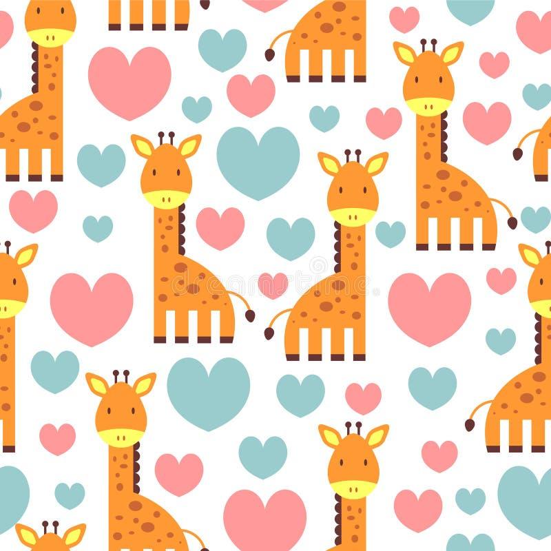 Modelo inconsútil de ?ute con la jirafa libre illustration