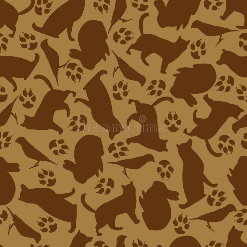Modelo inconsútil de animales domésticos Diseño para las materias textiles, papel, comida para los animales stock de ilustración