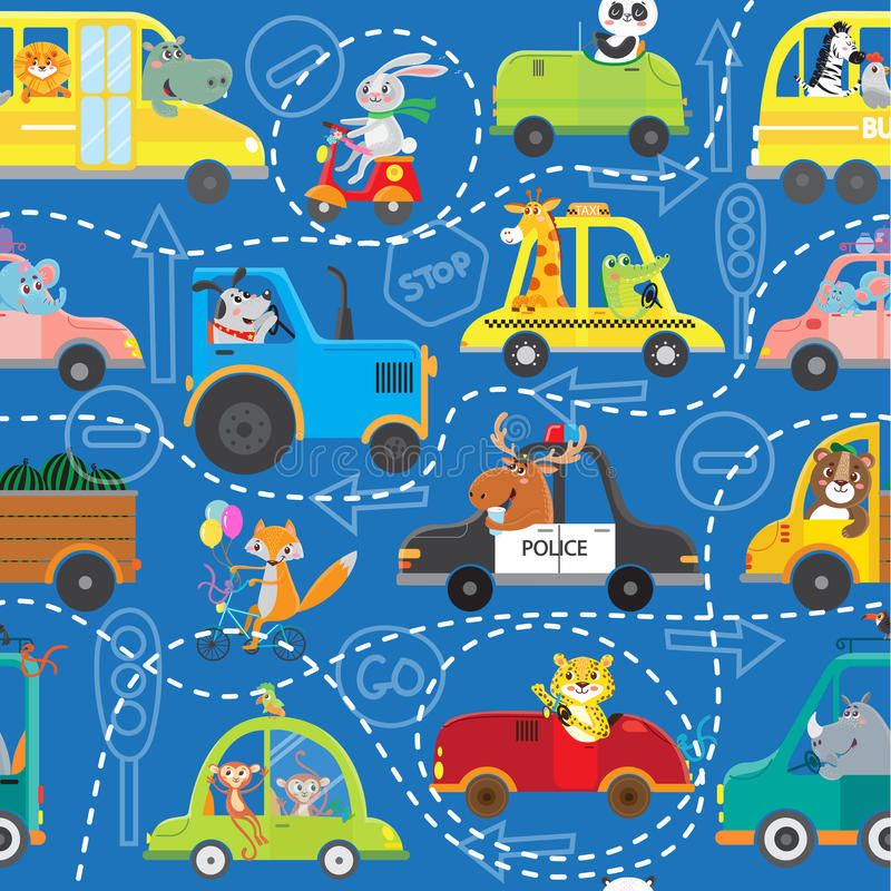 Modelo inconsútil de animales en vehículos libre illustration