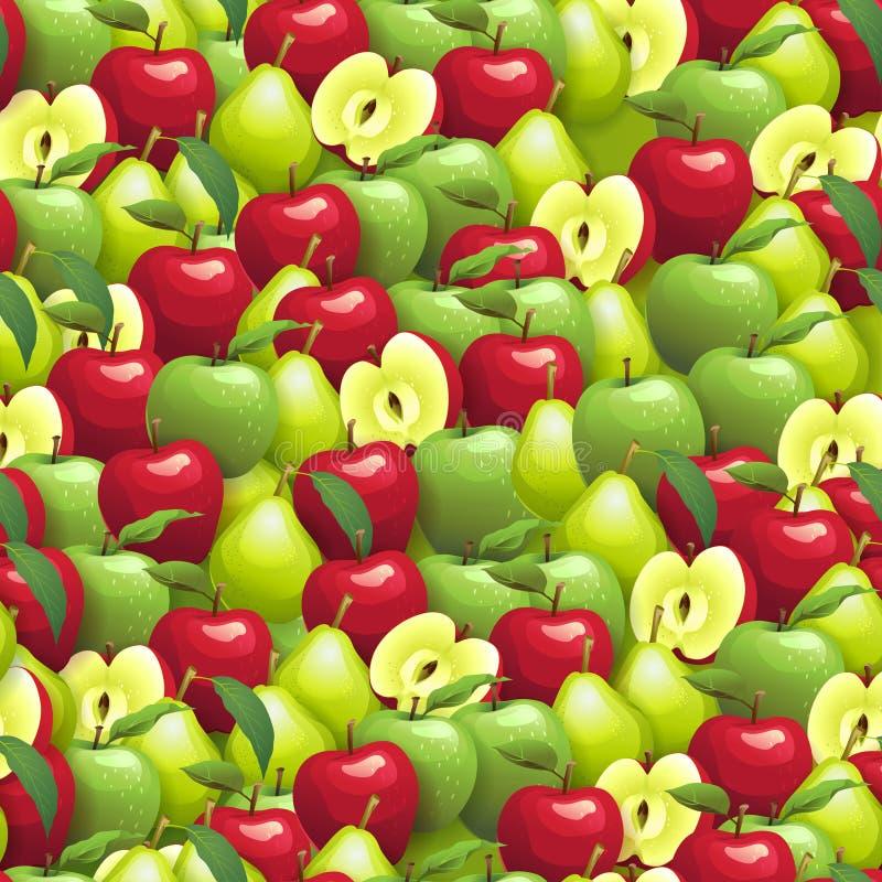 Modelo inconsútil de Apple y de la pera stock de ilustración