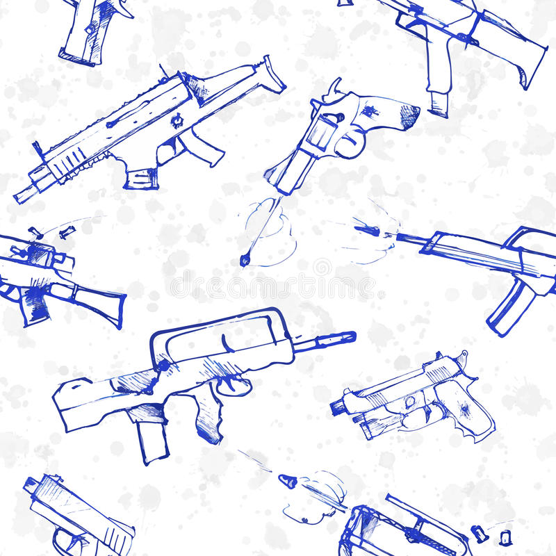 Modelo inconsútil de armas dibujadas mano ilustración del vector