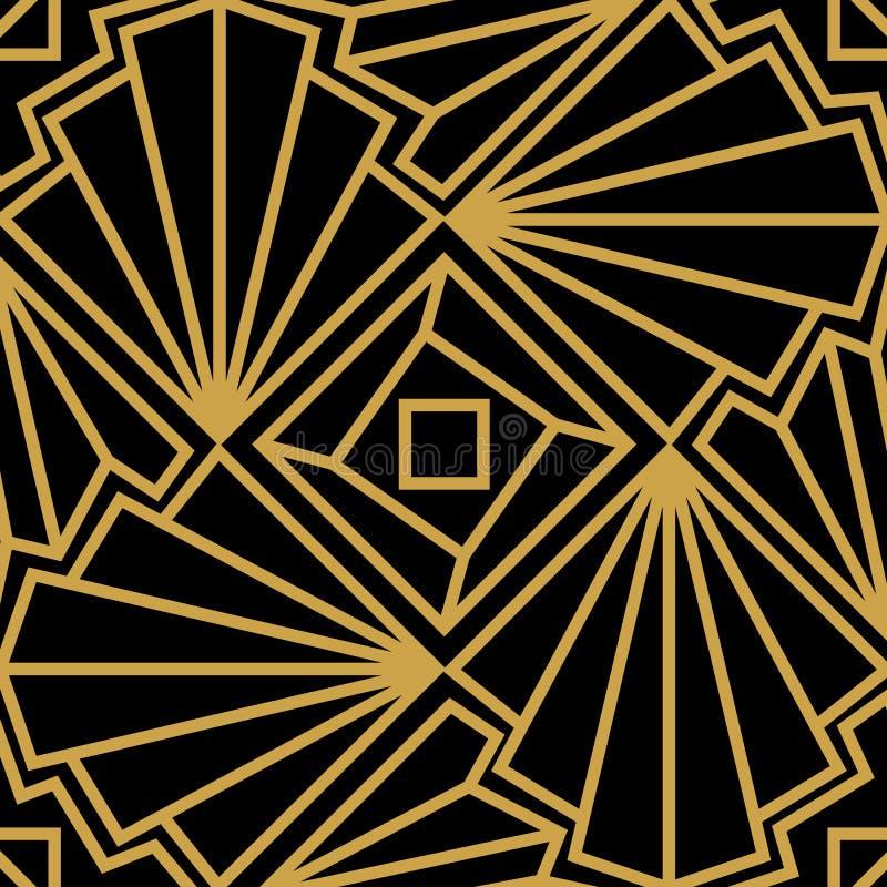 Modelo inconsútil de Art Deco del vector abstracto con la cáscara estilizada Ornamento de oro en fondo negro stock de ilustración