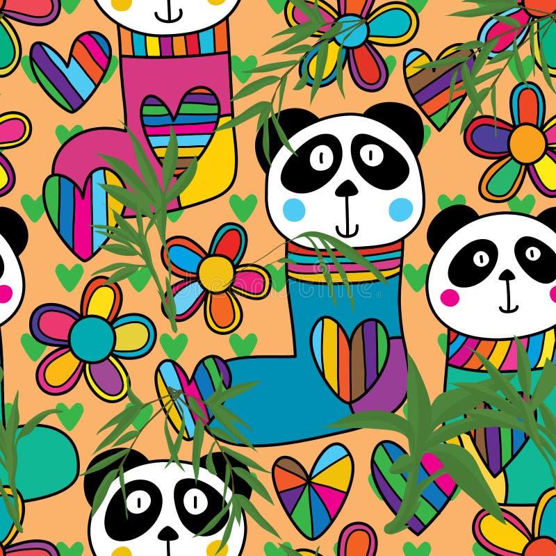 Modelo inconsútil de bambú de la flor principal de la media de la panda stock de ilustración