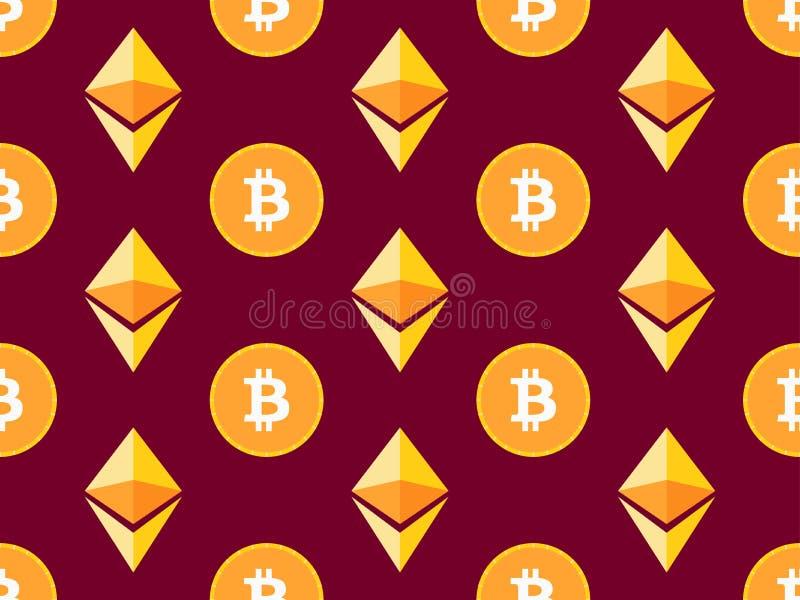 Modelo inconsútil de Bitcoin y del etherium Fondo Crypto de la moneda Vector stock de ilustración