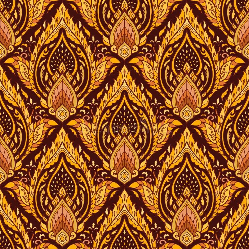 Modelo inconsútil de Boho del diseño lujoso real tailandés del ornamento con de oro marrón amarillo ilustración del vector