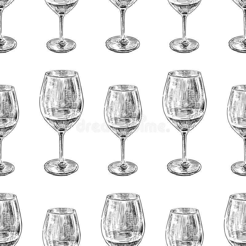 Modelo inconsútil de bosquejos de copas de vino fotografía de archivo