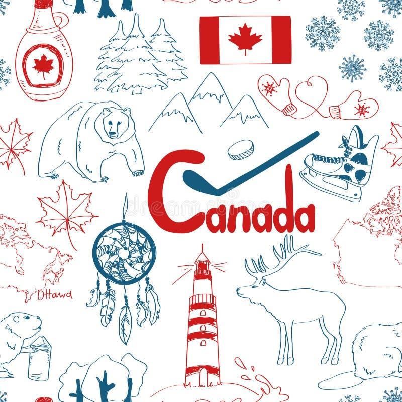 Modelo inconsútil de Canadá del bosquejo stock de ilustración