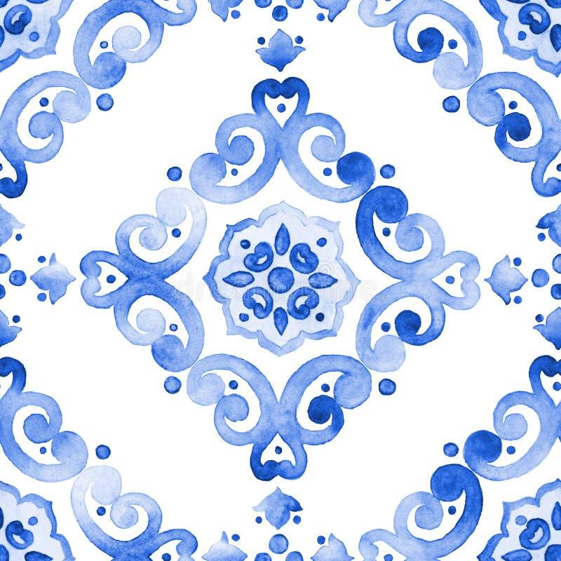 Modelo inconsútil de cobalto del ornamento afiligranado del azul imagen de archivo libre de regalías