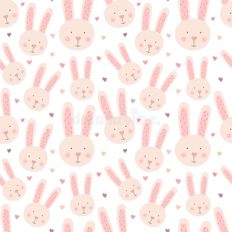 Modelo inconsútil de conejos lindos a mano y de corazones Imagen del vector de una liebre al día de tarjeta del día de San Valent ilustración del vector