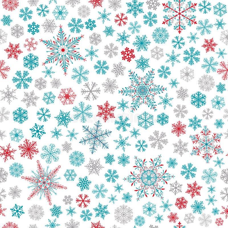 Modelo inconsútil de copos de nieve, de la turquesa, del gris y del rojo en blanco stock de ilustración