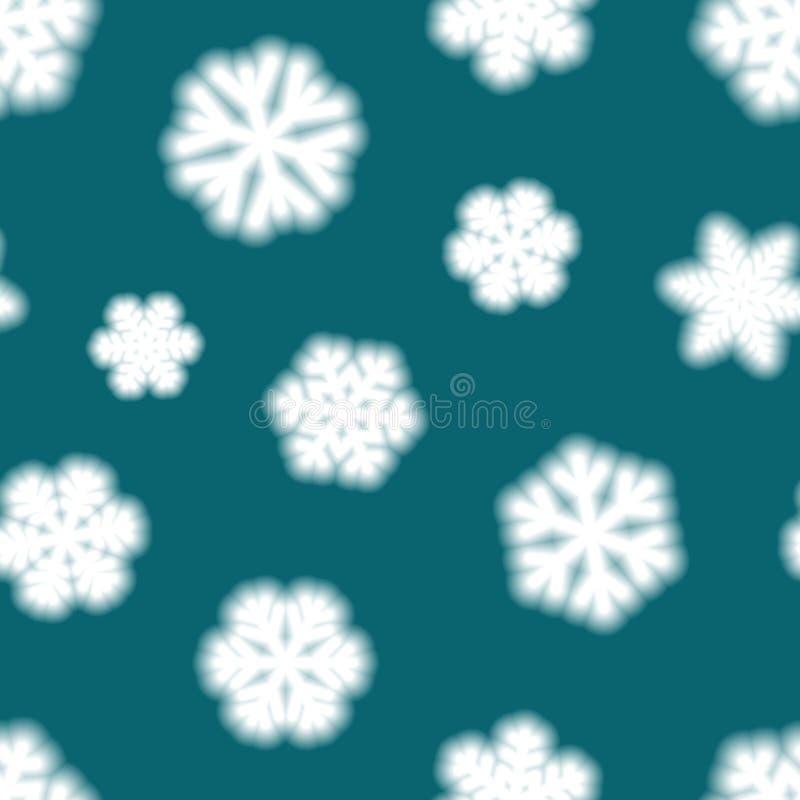 Modelo inconsútil de copos de nieve borrosos grandes stock de ilustración