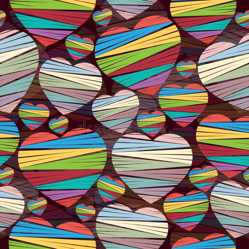Modelo inconsútil de corazones coloreados con las rayas en un fondo oscuro Día de tarjeta del día de San Valentín Ilustración del stock de ilustración