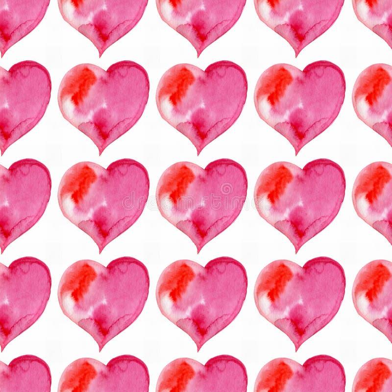 Modelo inconsútil de corazones rosados Día de tarjeta del día de San Valentín watercolor libre illustration