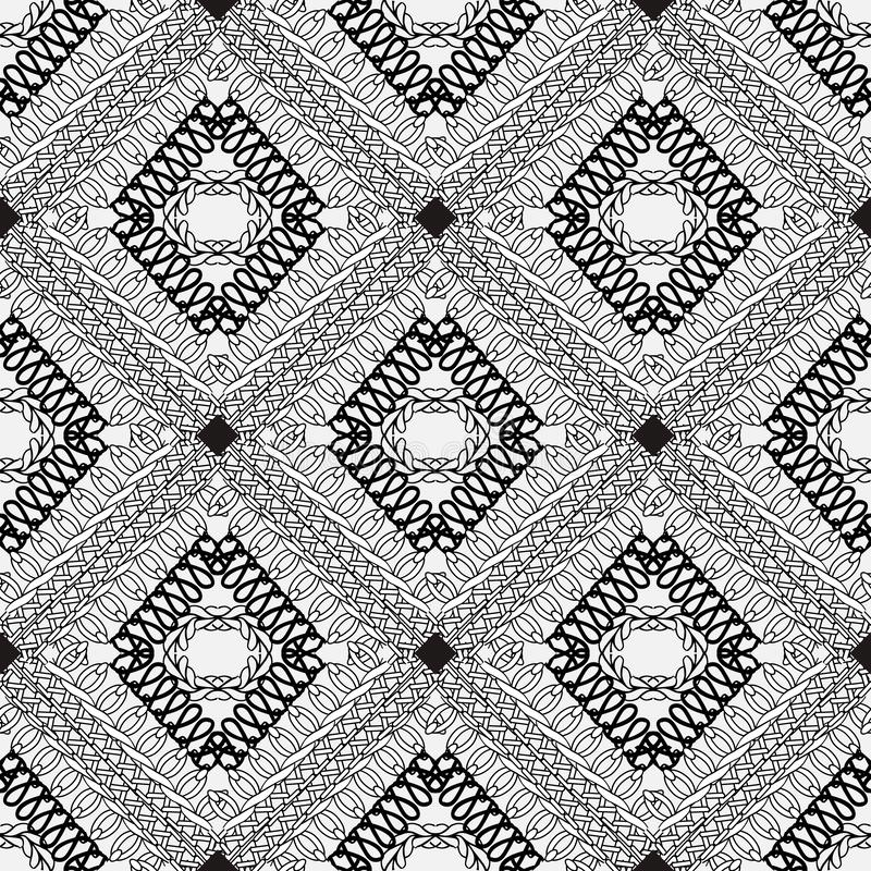 Modelo inconsútil de costura del vector ornamental blanco y negro Kn libre illustration