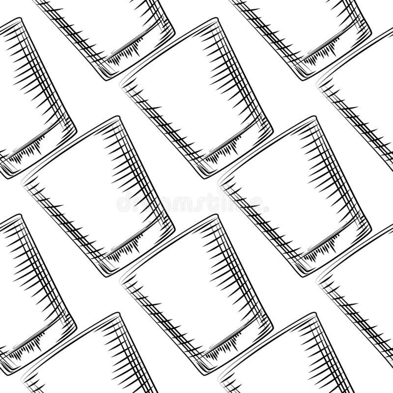 Modelo inconsútil de cristal pasado de moda exhausto de la mano Ejemplo del vector del estilo del grabado libre illustration
