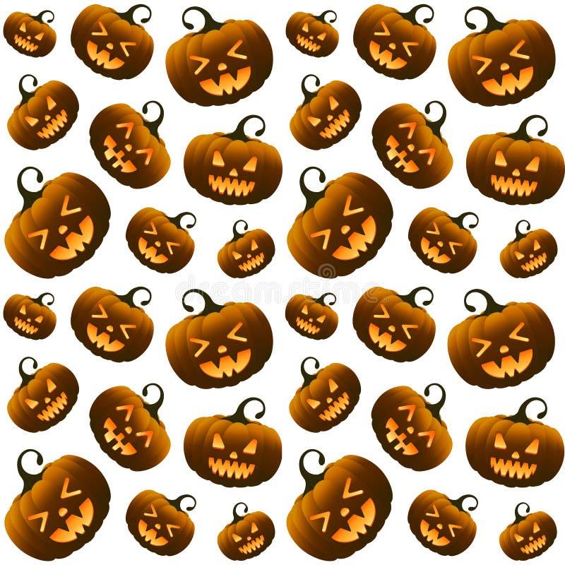Modelo inconsútil de diversas calabazas anaranjadas de Halloween fotos de archivo