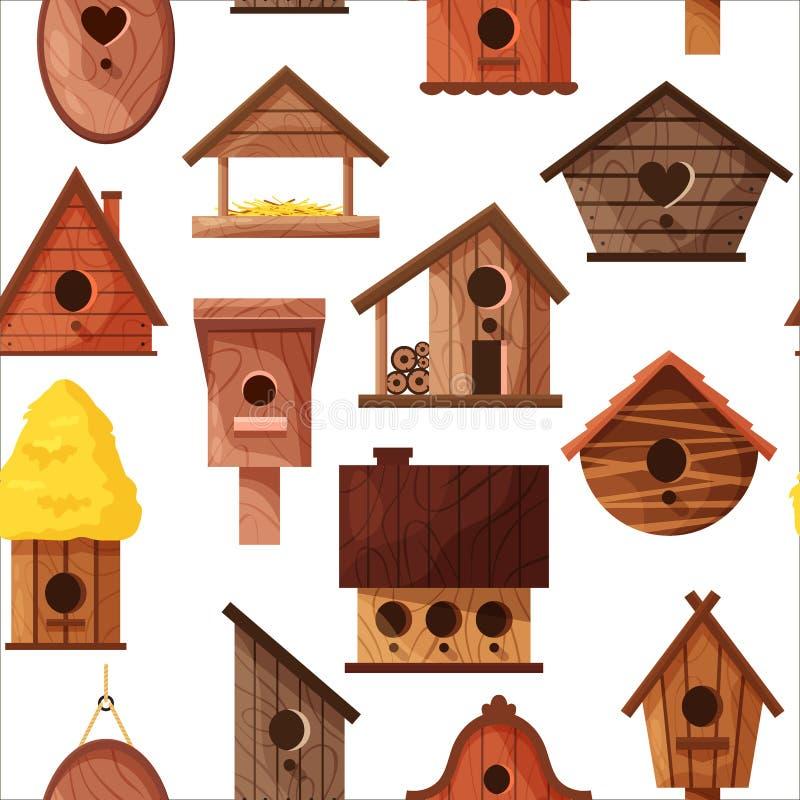 Modelo inconsútil de diversas casas hechas a mano de madera del pájaro aisladas en el fondo blanco Nidal hechos en casa de la his ilustración del vector