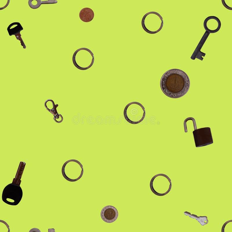 Modelo inconsútil de diversas llaves y de las monedas del tamaño libre illustration