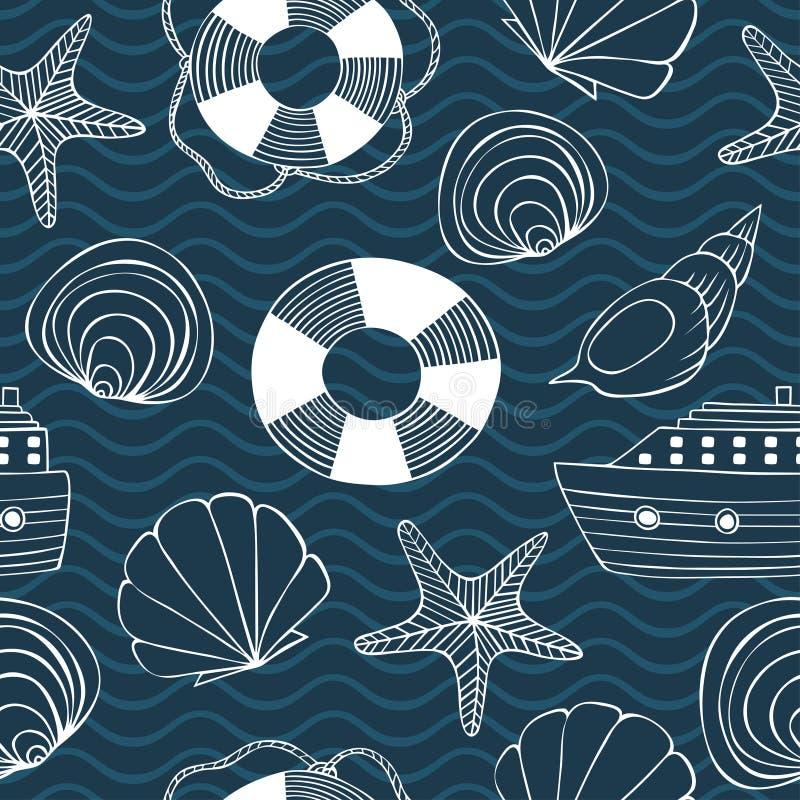 Modelo inconsútil de Eashells, de las estrellas de mar, del salvavidas, de la nave y de las ondas ilustración del vector