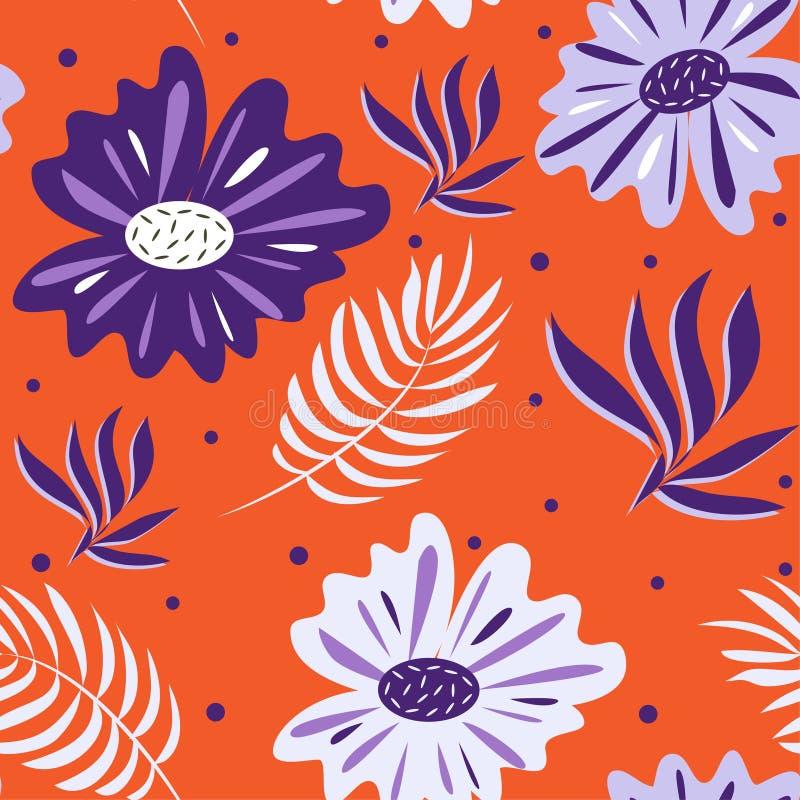 Modelo inconsútil de flores azules y púrpuras y de hojas tropicales en fondo anaranjado Dise?o del vector ilustración del vector