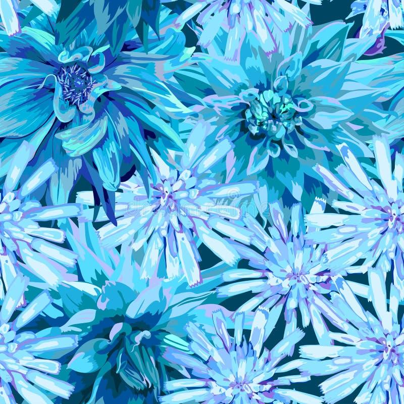 Modelo inconsútil de flores congeladas invierno stock de ilustración