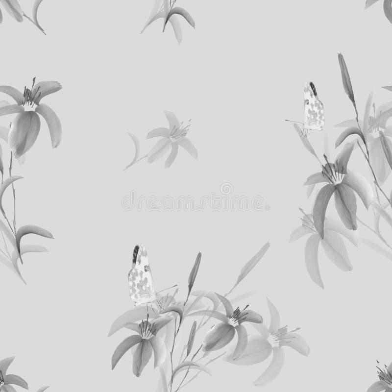 Modelo inconsútil de flores grises salvajes con la mariposa en un fondo gris claro watercolor stock de ilustración