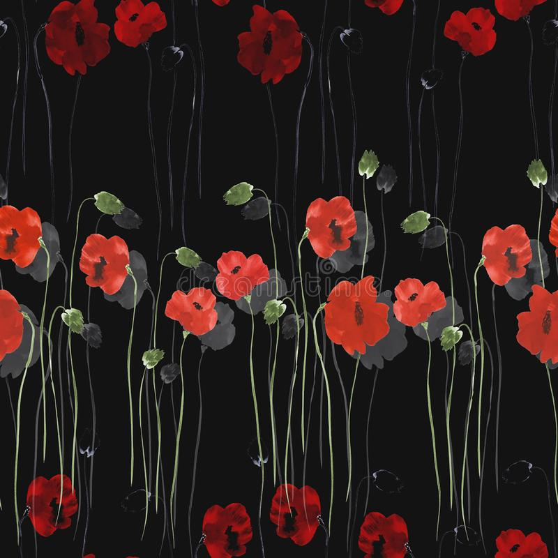 Modelo inconsútil de flores rojas de amapolas con los troncos verdes en el fondo negro watercolor ilustración del vector