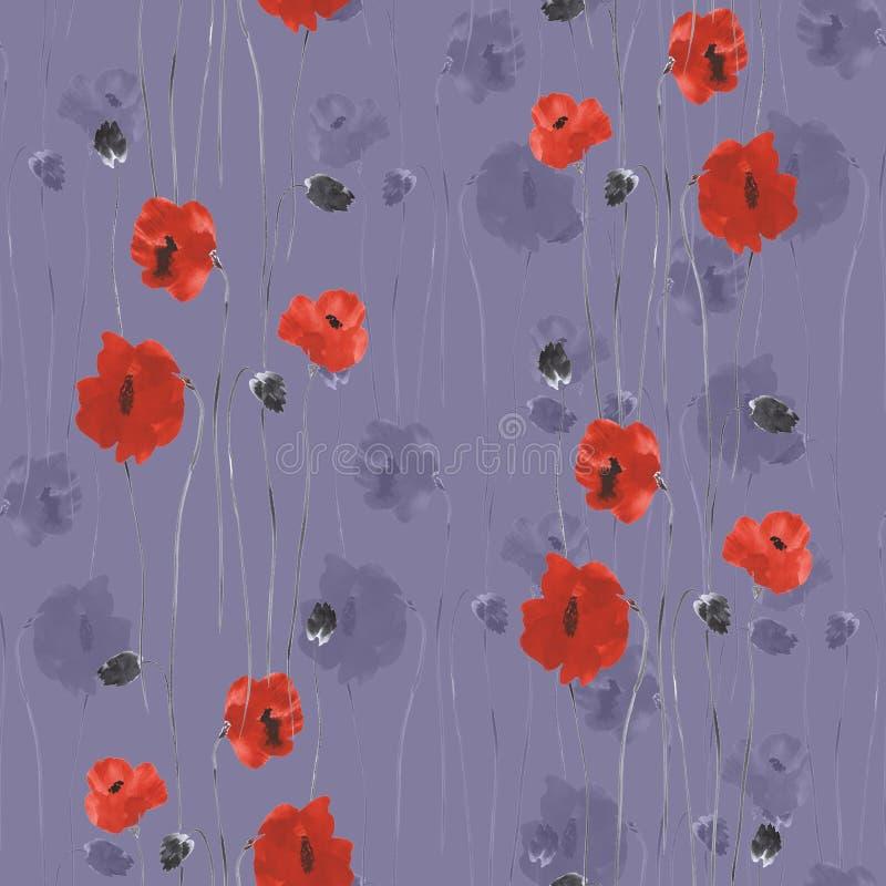 Modelo inconsútil de flores rojas de amapolas en un fondo de color violeta oscuro watercolor stock de ilustración