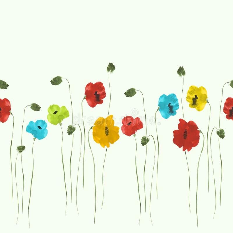 Modelo inconsútil de flores rojas, azules, amarillas, verdes en un fondo verde claro watercolor libre illustration