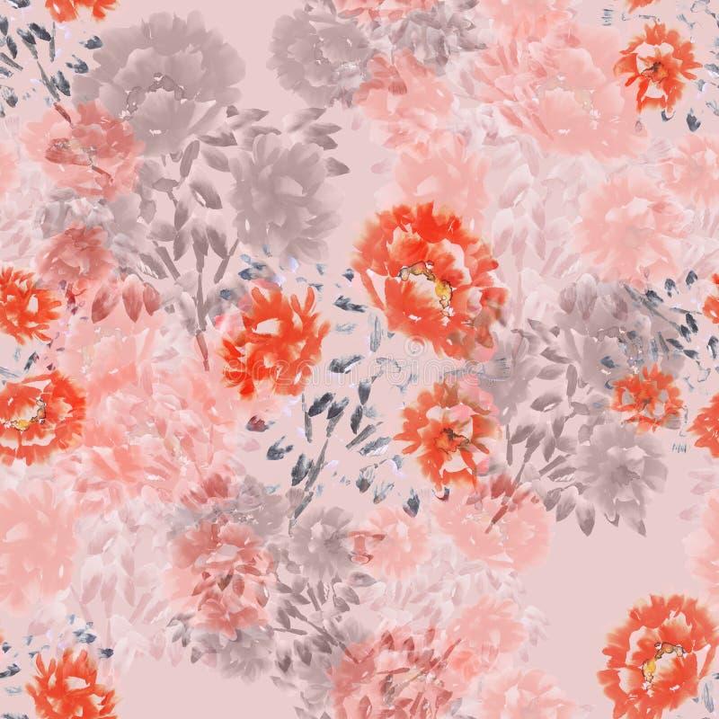 Modelo inconsútil de flores rojas, rosadas, beige de peonías en un fondo rosa claro Fondo floral watercolor stock de ilustración