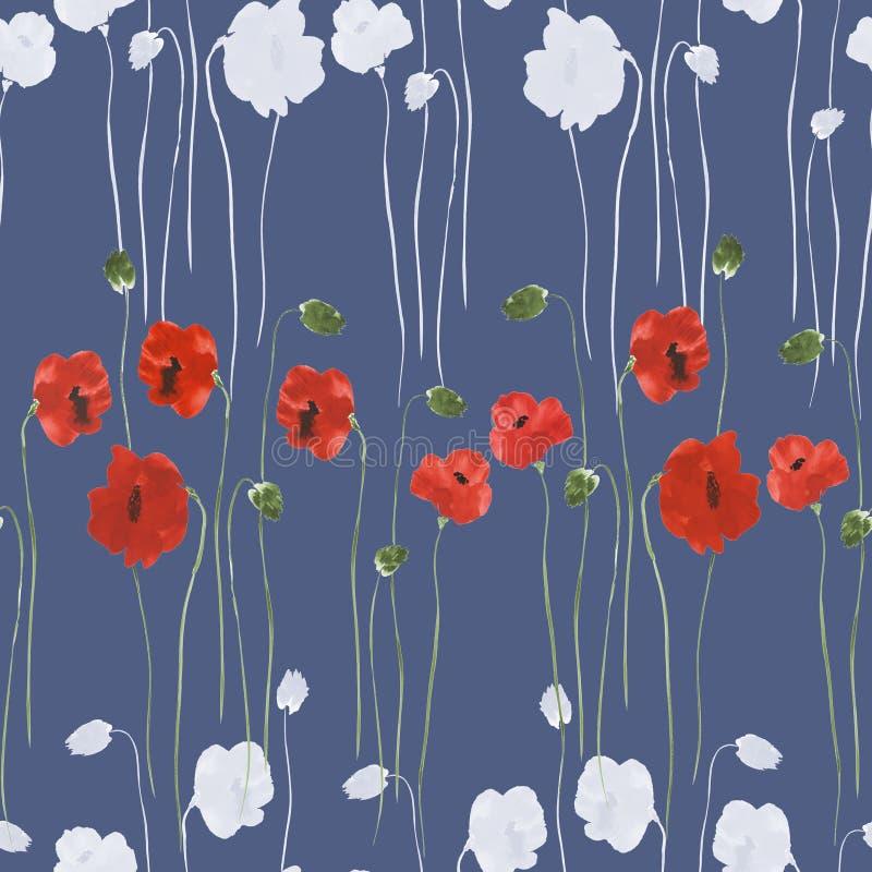 Modelo inconsútil de flores rojas y blancas de amapolas en un fondo azul profundo Acuarela - 2 ilustración del vector