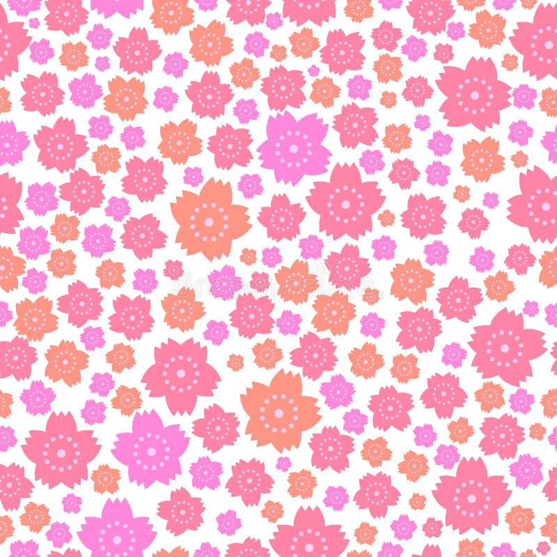 Modelo inconsútil de flores rosadas y anaranjadas lindas en el fondo blanco stock de ilustración