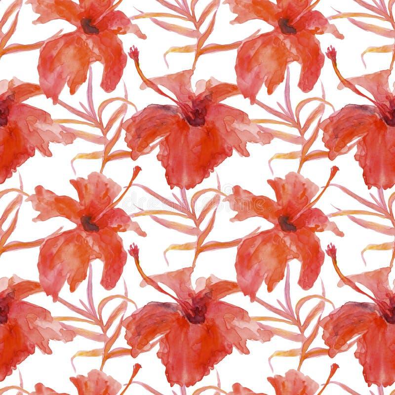 Modelo inconsútil de flores y de hojas ilustración del vector