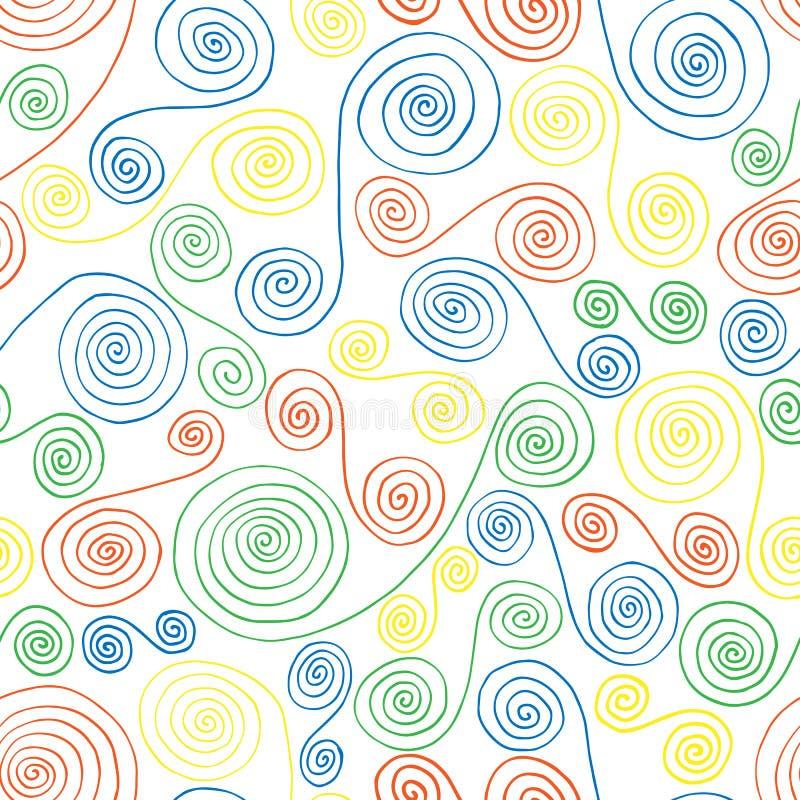 Modelo inconsútil de florituras coloreadas ilustración del vector