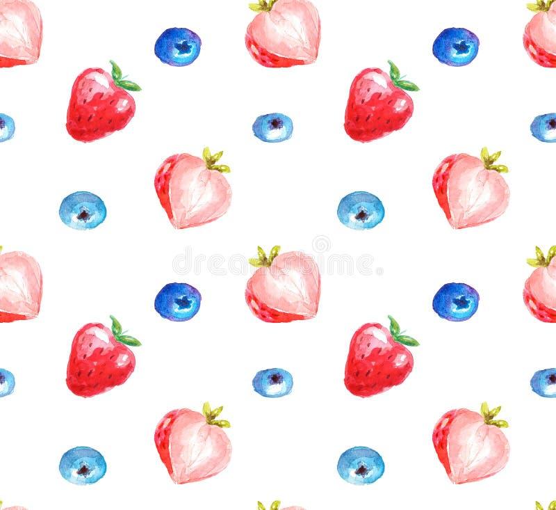 Modelo inconsútil de fresas y de arándanos en estilo de la acuarela ilustración del vector