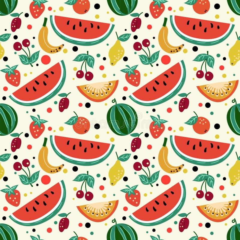Modelo inconsútil de frutas, sandía, melón, fresa, cereza, ciruelo, kiwi stock de ilustración