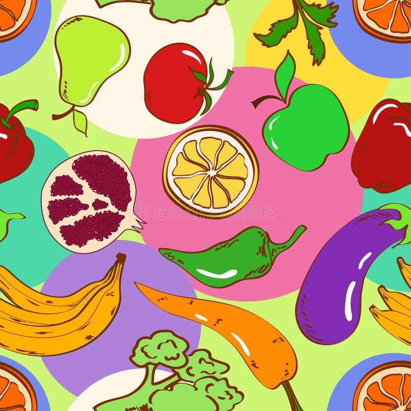 Modelo inconsútil de frutas y verduras libre illustration