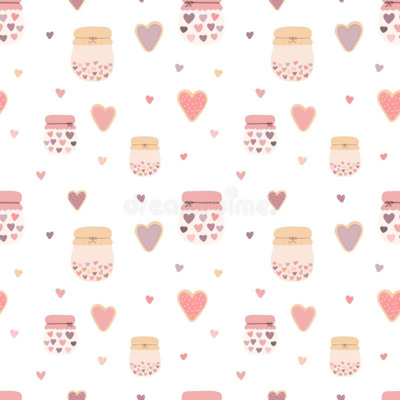 Modelo inconsútil de galletas lindas a mano, de tarros, de atascos y de corazones Imagen del vector para el día de tarjeta del dí stock de ilustración