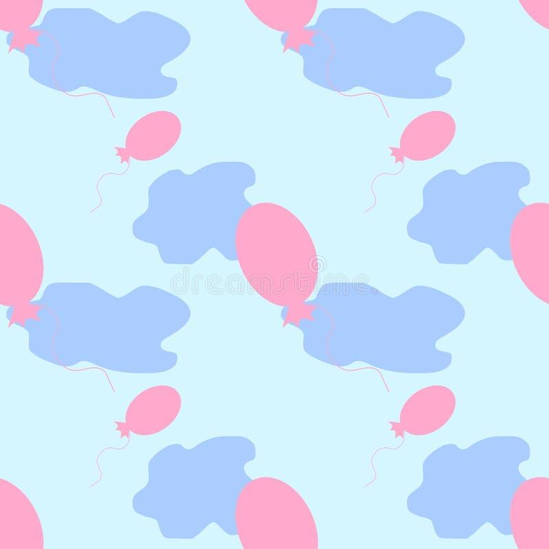 Modelo inconsútil de globos con las nubes en el cielo fotografía de archivo libre de regalías
