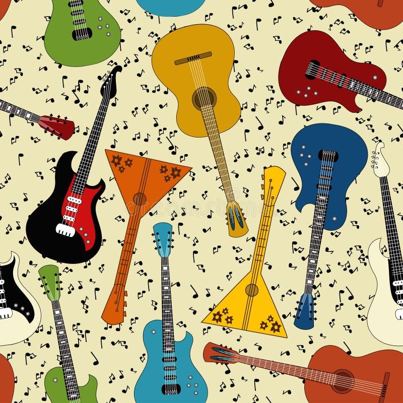 Modelo inconsútil de guitarras ilustración del vector