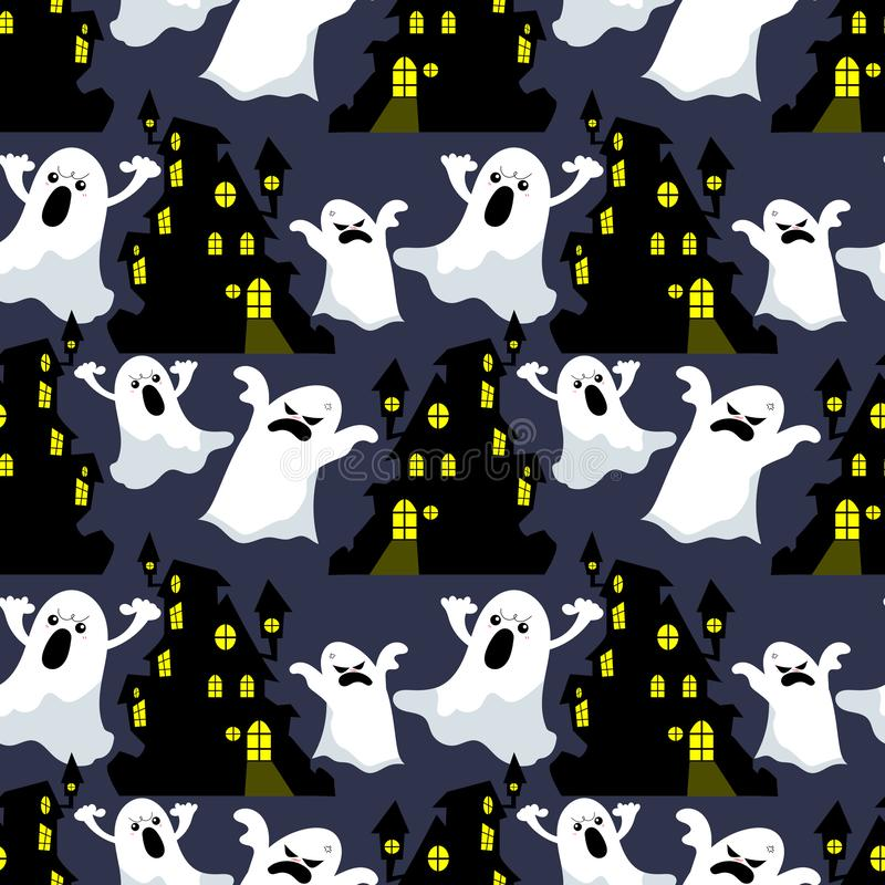Modelo inconsútil de Halloween con la casa encantada y el fantasma ilustración del vector