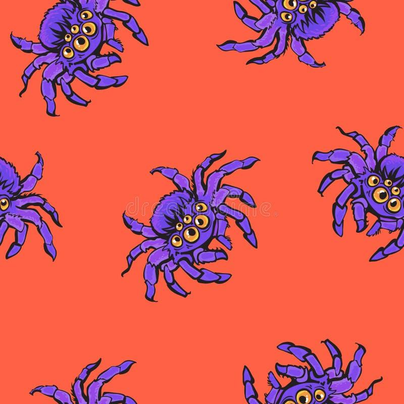Modelo inconsútil de Halloween con las arañas púrpuras gigantescas de la historieta en el fondo anaranjado stock de ilustración